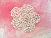 """Flower Applique Pearl Beaded Floral 2.5"""" (JB151S)"""