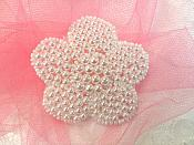 "Flower Applique Pearl Beaded Floral 2.5"" (JB151S)"