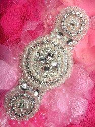 "JB154 DIY Victorian Pearl Silver Beaded Crystal Rhinestone Applique 6"""
