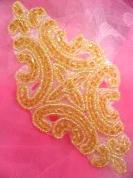 """JB159 Champagne Beaded Applique Victorian Motif Patch 6"""""""