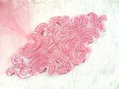 "Fuchsia Beaded Applique Victorian Dance Costume Motif Patch 6"" (JB159)"