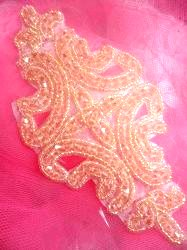 """RMJB159 REDUCED Peach Beaded Applique Victorian Motif Patch 6"""""""