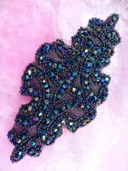 JB159 Peacock Beaded Applique Victorian Motif Patch 6""