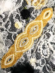 JB16 Gold Beaded Pearl Crystal Rhinestone Applique  8.75""