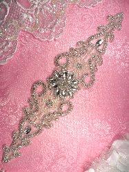 "JB161 Flower Centered Silver Beaded Pearl Crystal Rhinestone Bridal Sash Applique 14.5"""
