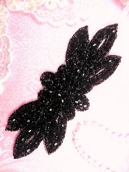 "JB162 Black Beaded Flower Applique Floral Iron On 6"""