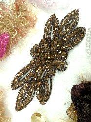 "JB162 Bronze Beaded Flower Applique Floral Iron On 6"""