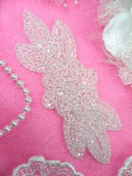 """JB162 Crystal Beaded Flower Applique Floral Iron On 6"""""""