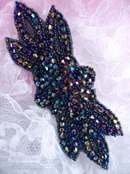 JB162 Peacock Beaded Flower Applique Floral Iron On 6""
