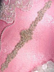 "JB164 Bridal Sash Crystal Rhinestone Applique Silver Beaded 16"""