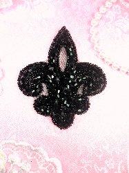 """JB165 Fleur De Lis Black Beaded Applique Motif 3"""""""