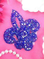 """JB165 Fleur De Lis Purple AB Beaded  Applique Motif 3"""""""