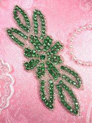 """JB166 Crystal Green Rhinestone Flower Applique Silver Beaded 6"""""""