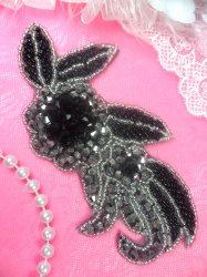 "JB17 Black Backing Triple Metallic Black Gunmetal Silver Beaded Floral Applique 5.25"""