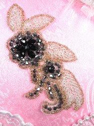 "JB17 Triple Metallic Black Gunmetal Silver Beaded Floral Applique 5.25"""