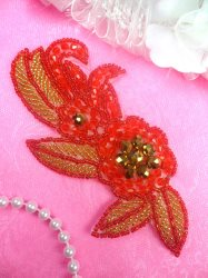 JB17 Triple Metallic Red Bronze Gold Beaded Floral Applique 5.25""