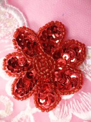 """JB175 Red Beaded Sequin Applique Flower Patch 2"""""""