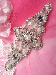 """JB178 Crystal Rhinestone Applique Silver Beaded w Pearls 5.75"""""""