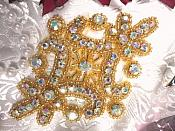 "Aurora Borealis Iron on Hot Fix Gold Crystal AB Rhinestone Beaded Applique 4"" (XR5)"
