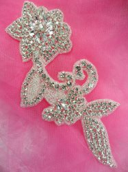 JB185 Crystal Rhinestone Applique Silver Beaded Floral 7.5""