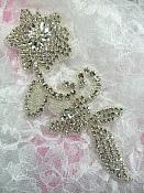 "JB185 Crystal Rhinestone Applique Silver Beaded Floral 7.5"""