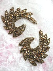 "JB186 Appliques Mirror Pair Bronze Curls Glass Beaded Patch 2.5"""