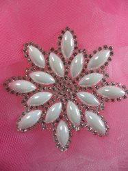 "JB188 Crystal Rhinestone Pearl Snowflake Beadless Applique 2.75"""