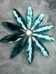 JB194 Turquoise Glass Flower Applique Crystal Rhinestone Iron On 3""