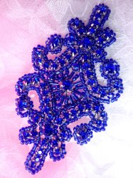 "JB201 Applique Blue Rhinestones Blue Beaded Victorian Motif Patch 4"""