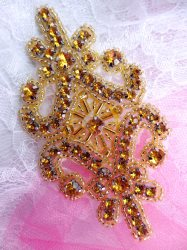 JB201 Applique Gold Rhinestones Gold Beaded Victorian Motif Patch 4""