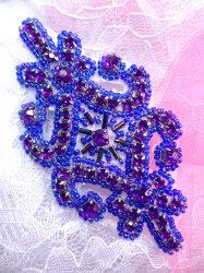 "JB201 Applique Purple Rhinestone Beaded Victorian Motif Patch 4"""