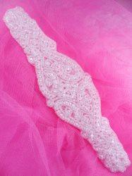 "JB202 Beaded Applique Crystal Glass Designer Victorian Patch Motif  8.5"""