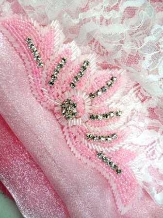 "JB204 Applique Rhinestone Two Tone Light Pink Beaded 6.5"""