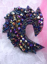 """JB215 Black AB Aurora Borealis Curl Designer Glass Beaded Applique 2.5"""""""