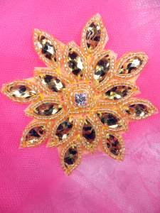 JB219 Gold Leopard Snowflake Jewel Beaded Applique 3""