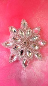 JB219 Silver Snowflake Jewel Beaded Applique 3""