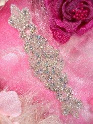 "JB22 Aurora Borealis Silver Beaded Crystal AB Rhinestone Applique 7"""