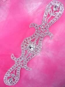 """JB223 Silver Crystal Rhinestone Applique Embellishment 9"""""""