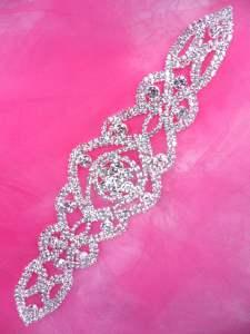 """JB224 Silver Crystal Rhinestone Applique Embellishment 8.25"""""""