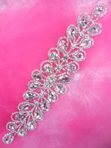 """JB226 Silver Crystal Rhinestone Applique Embellishment 8.5"""""""