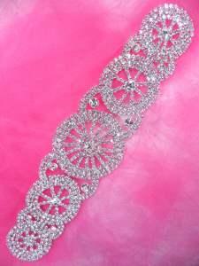 """JB227 Silver Crystal Rhinestone Applique Embellishment 9"""""""