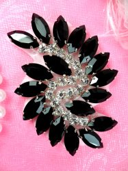 "JB234 Glass Rhinestone Applique Black Crystal Marquise Swirl 2.5"""