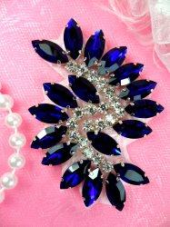 """JB234 Glass Rhinestone Applique Blue Crystal Marquise Swirl 2.5"""""""
