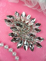 JB234 Glass Rhinestone Applique Crystal Marquise Swirl 2.5""