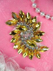 "JB234 Glass Rhinestone Applique Gold Crystal Marquise Swirl 2.5"""