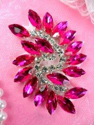 "JB234 Glass Rhinestone Applique Hot Pink Crystal Marquise Swirl 2.5"""