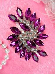 "JB234 Glass Rhinestone Applique Plum Crystal Marquise Swirl 2.5"""