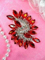 "JB234 Glass Rhinestone Applique Red Crystal Marquise Swirl 2.5"""
