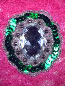 JB236 Sequin Beaded Applique Green Silver Jewel 2""