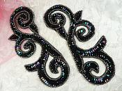 "Sequin Appliques Black AB Mirror Pair Gunmetal Beaded Edge Scroll Designer Iron on 6.5"" (JB239X)"